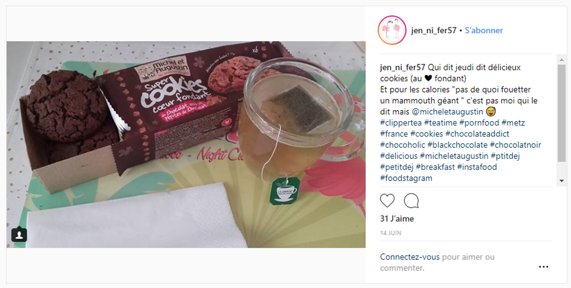 Post Instagram thé et Cookies Michel et Augustin
