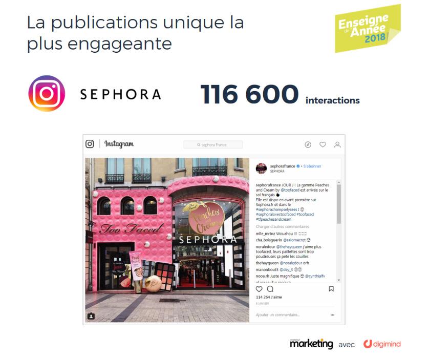 La publication Sephora la plus engageante sur Instagram