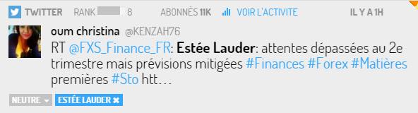Tweet via Digimind social sur la marque Estée Lauder