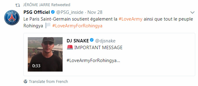 #LoveArmyforRohingya tweet PSG officiel