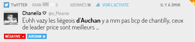 Tweet via Digimind social sur Auchan