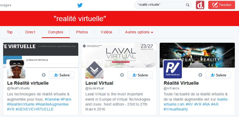 Réalité virtuelle Twitter search