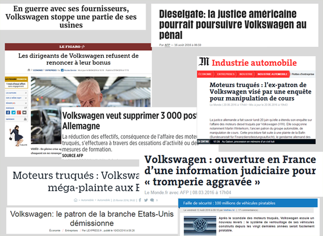 De nombreuses actualités sur le groupe Volkswagen continue à focaliser l'audience sur le scandale