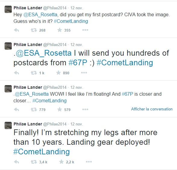 Tweets sur la mission Rosetta