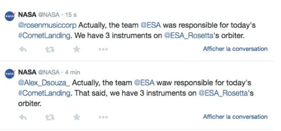 Tweets de la NASA sur la mission Rosetta