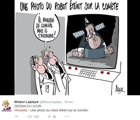 Cartoon mission Rosetta une photo du robot éteint sur la comète