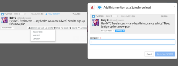 An integrated Social Media contact as a lead in the CRM