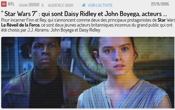 Les 2 nouveaux personnages : Finn et Rey