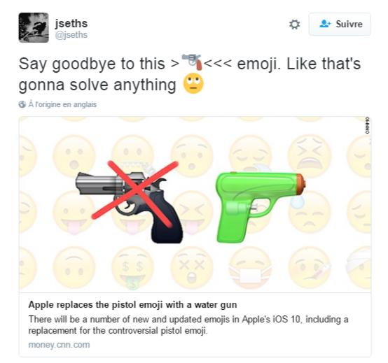 Apple a remplacé son arme à feu par un...pistolet à eau