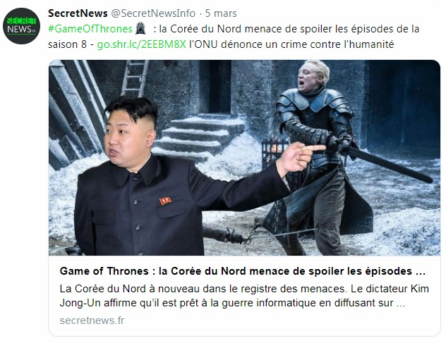 Un tweet du site d'informations parodiques Secret News