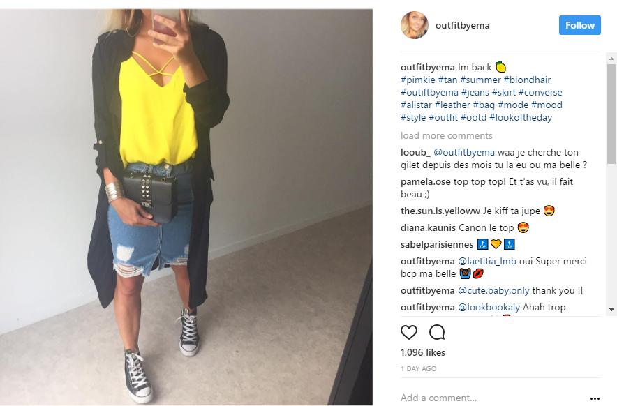 photo instagram haut jaune pimkie