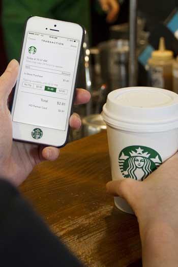 Imagen de la aplicación móvil de Starbucks
