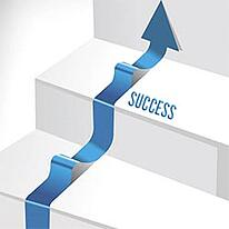 graphic of stairs with an arrow pointing upwards and the word success