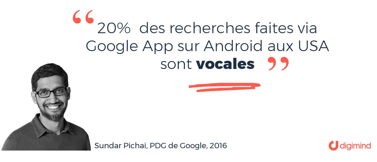 Dès 2016, 20% des recherches faites via Google App sur Android aux USA sont vocales