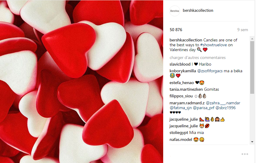 Imagen de Bershka celebrando San Valentin en Instagram con dulces de corazon