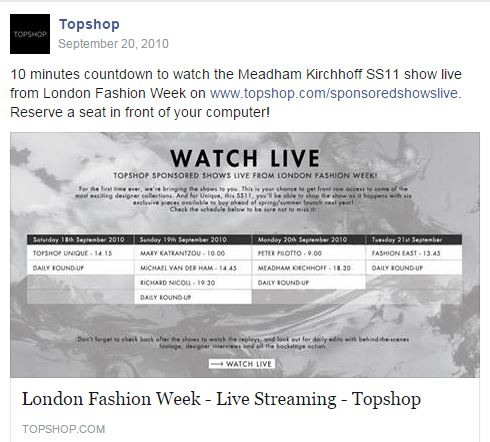 topshop post Facebook de live streaming