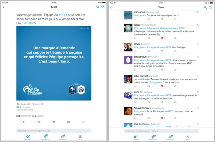 une campagne Volkswagen sur Twitter lors de l'Euro2016 : les réactions négatives sont nombreuses