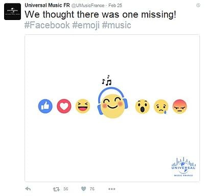 Universal Music Facebook reactions.