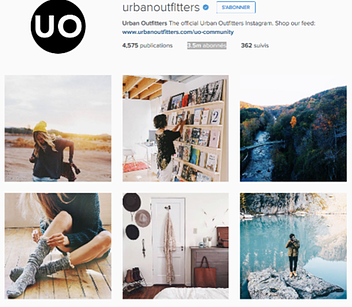 Perfil Instagram UrbanOutfitters dashboard