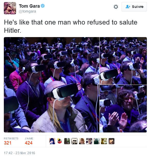 Mark Zuckerberg en la conferencia de Samsung MWC en medio de periodistas equipados para descubrir la realidad virtual