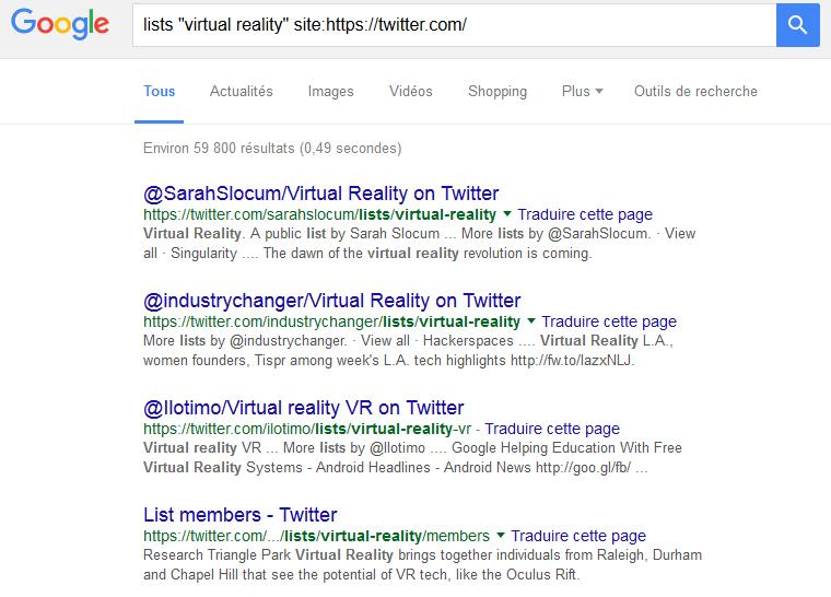"liste ""virtual reality"" twitter avec Google search"