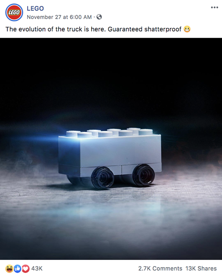 Lego's version of the Cybertruck on Facebook