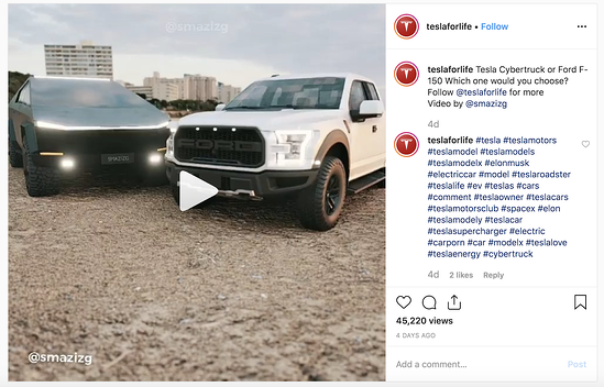 Tesla fan account comparing the Cybertruck to the F-150