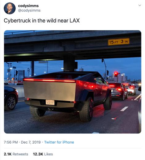 Tweet showing Elon Musk test driving the Cybertruck