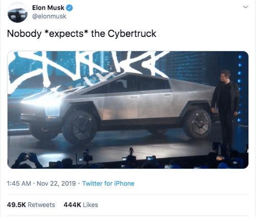 Elon Musk's Twitter Announcement of the Cybertruck