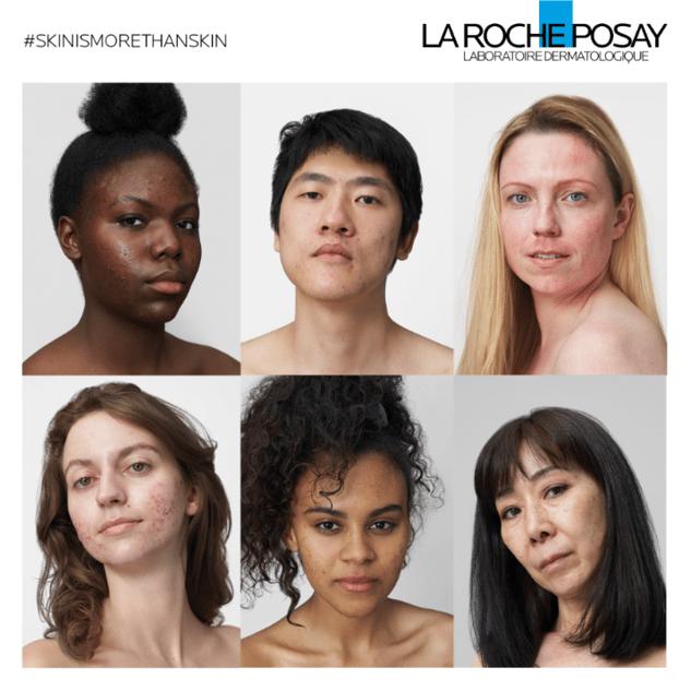 affiche publicitaire La Roche Posay présentant le portrait au naturel de cinq femmes et un homme