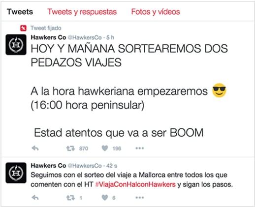 tweet Hawkers con Halcon
