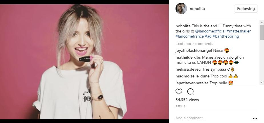 noholita et lancome sur Instagram