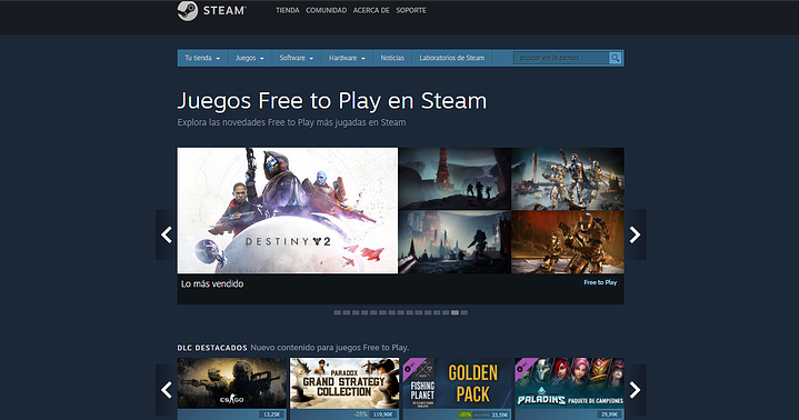 Steam gaming plataforma videojuego