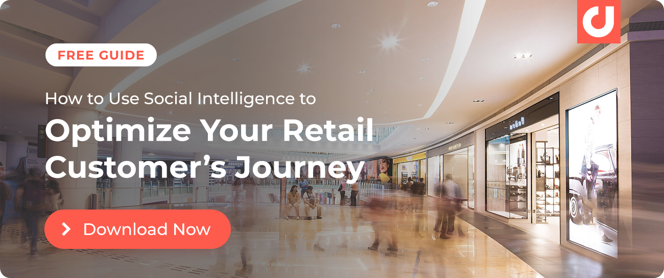 Download our guide on using social intelligence to optimize your retail customer's journey.