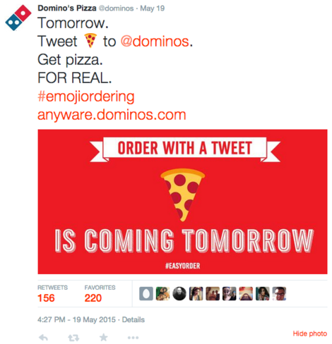 Domino's Pizza starts a new campaign to engage consumers through emoji pizza ordering