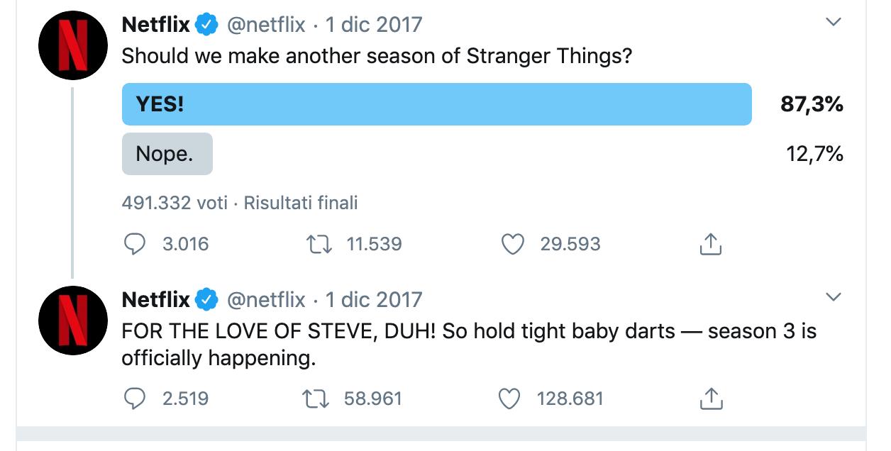 A screenshot showing Netflix using consumer feedback via social media