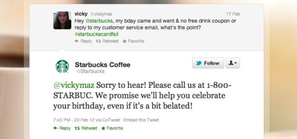 Starbucks Engagement Tweet
