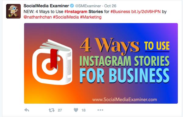 4 formas sobre cómo usar intagram stories para tu negocio tweet