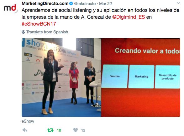 tweet de Marketing directo con ponencia de Ana Cerezal de Digimind
